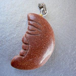 Jewelry - Glittering Copper Brown Crescent Moon Pendant